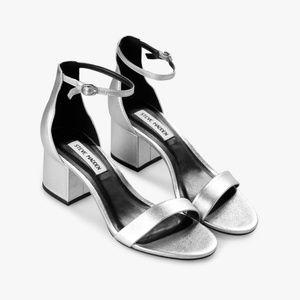NWT Steve Madden Irenee Silver Sandal Heel 7